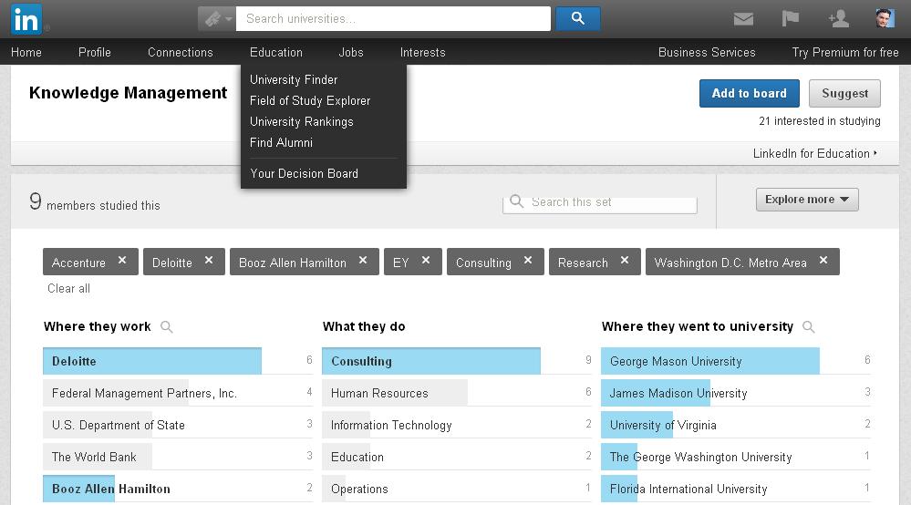 Linkedin 'Field of Study Explorer'